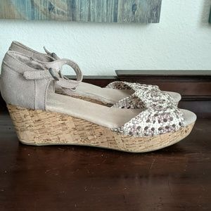 TOMS Macrame Suede Ankle Strap Cork Wedge Sandals